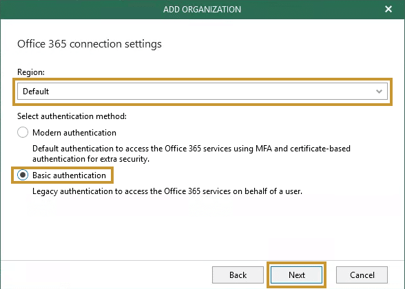 Veeam backup office 365 etape9
