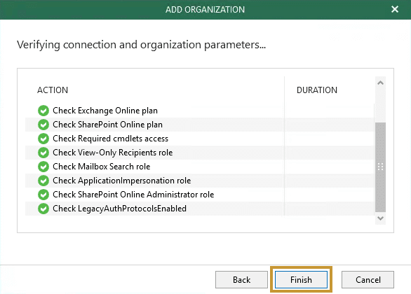 Veeam backup office 365 etape11